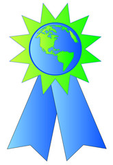 green and blue ribbon with earth or globe in the center