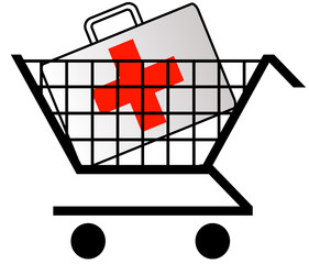 shopping cart with first aid kit or medicine in cart