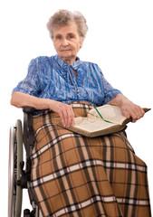 portrait of an elderly woman in wheelchair