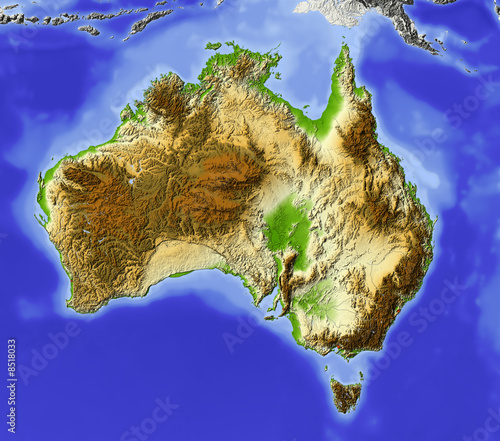 Australia Relief Map Colored According To Elevation Stock Photo