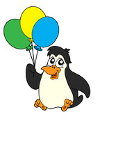 Penguin with balloons vector illustration