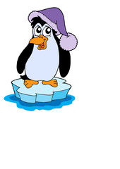 Penguin on iceberg vector illustration