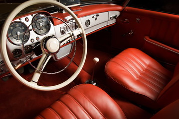 Tuinposter Oude auto s Luxury car interior