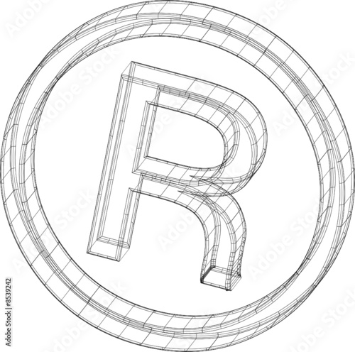 All Rights Reserved Symbol In Wireframe Stock Image And Royalty