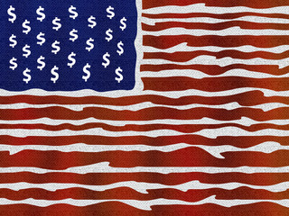 American stylized flag illustration. The money is power.