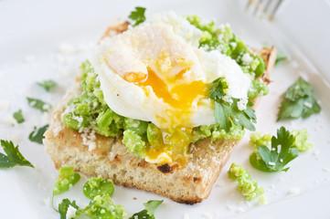 Broadbean crostini with poached egg