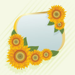 Gold frame with abstract sunflowers