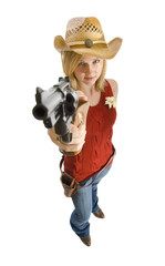Cowgirl with gun isolated on white