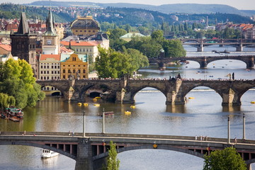 Wall Murals Prague Prague bridges on sunday afternoon