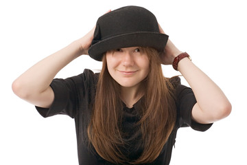 smiling young woman in black hat