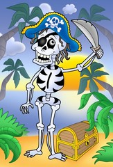 Photo sur Toile Pirates Pirate skeleton with sabre and treasure chest