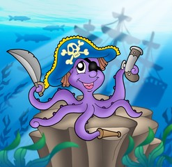 Zelfklevend Fotobehang Piraten Pirate octopus with shipwreck