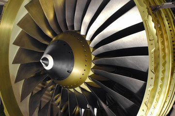 jet engine turbine blades close-up