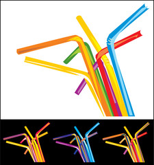 Colored party straws. Vector