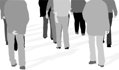 vector illustration of people walking