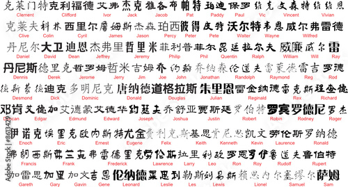 Vector Chinese Writing With English Translation 2 Stock Image And