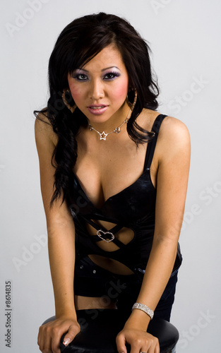 Quot Asian Girl In Sexy Black Leather Outfit Leaning On A Bar