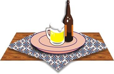 Jarra y Botella de Cerveza