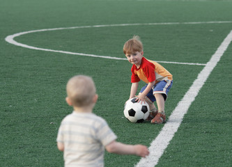 Children on a football field