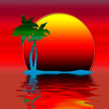 Karibik Südsee Insel Sonnenuntergang