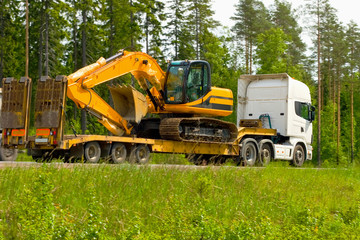 moving in some construction machinery