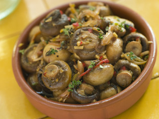 Garlic and Chilli Marinated Mushrooms