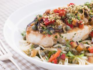 Baked Sicilian Swordfish with Linguine