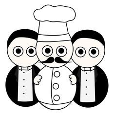 Cocinero y camareros