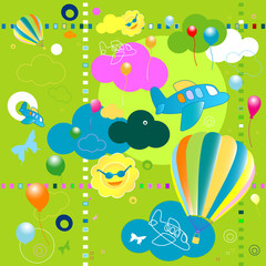 Printed roller blinds Airplanes, balloon toys pattern