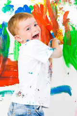 Happy child painting