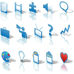 Communications Media Business Icons Reflections Set Blue