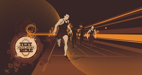 illustration of athletic runners running on a race