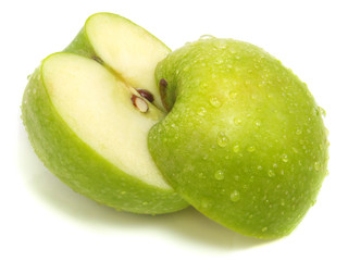 Cut apart fresh green apple