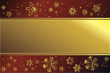 Goldener Rahmen mit Schneeflocken vor rotem Hintergrund