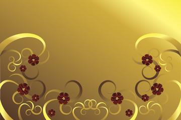 Goldene Blumen mit roten Blüten vor goldenem Hintergrund