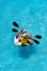rafting in an amusement aqua park