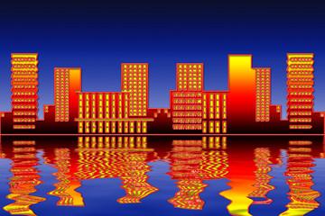 Großstadtsilhouette am Wasser