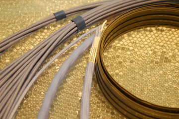 assorted electrical wiring on a golden background
