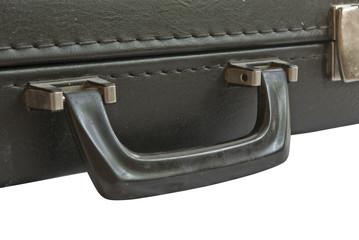 Black closed suitcase isolated on white background