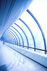 Blue glass corridor