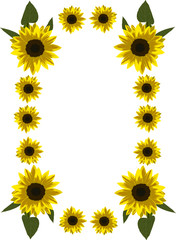 frame of yellow sunflowers
