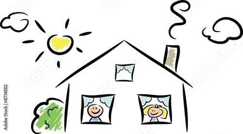 cartoon haus mit fr hlichen kindern stockfotos und lizenzfreie vektoren auf. Black Bedroom Furniture Sets. Home Design Ideas