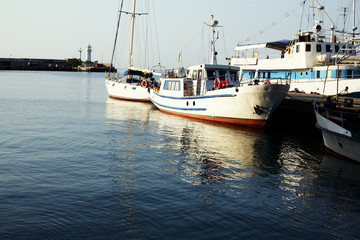 Boats near the pier