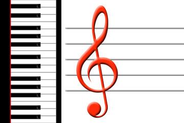 piano and treble clef