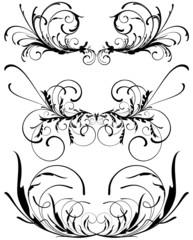 Floral decorative design elements