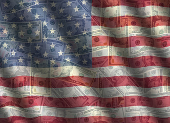 American currency with rippled flag effect background