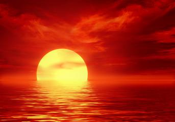 Photo sur Aluminium Rouge traffic abstract sunset at sea