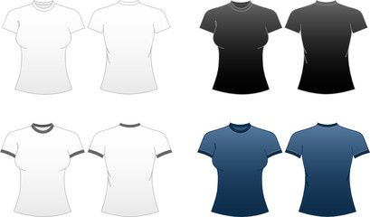 Women's Fitted T-shirt Templates-roundneck and ringer tees