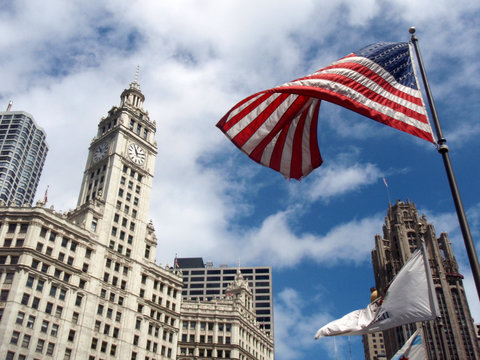 Wrigley building in Chicago and Old Glory