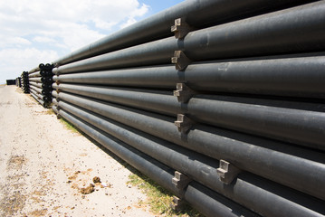 perspective of black pipes